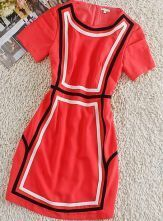 Red Round Neck Short Sleeve Geometric Print Silk Dress