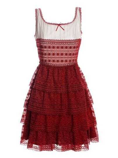 Red Round Neck Sleeveless Hollow Cascading Ruffle Silk Dress