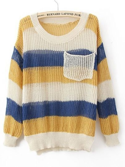 Yellow Blue Round Neck Long Sleeve Striped Pockets Cotton Blends Sweaters