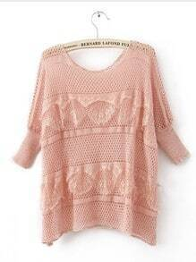 Pink Round Neck Half Sleeve Lace Sweaters