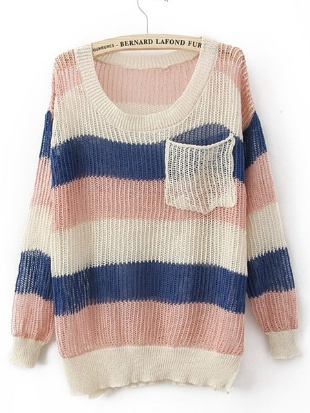 Pink Blue Round Neck Long Sleeve Striped Pockets Cotton Blends ...
