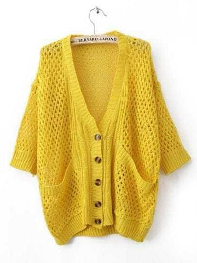 Yellow V Neck Half Sleeve Single Breasted Hollow Cotton Blends Sweaters