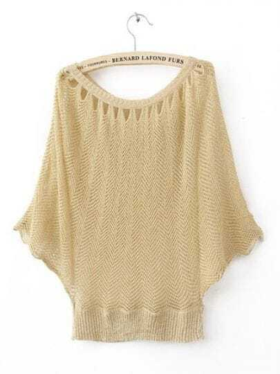 Beige Round Neck Batwing Short Sleeve Striped Sweaters