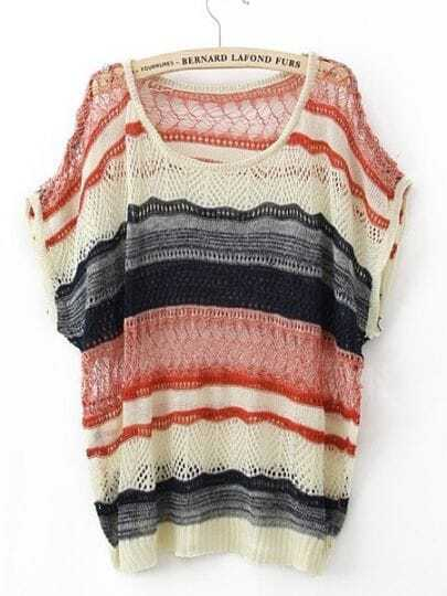 Red Round Neck Short Sleeve Hollow Striped Cotton Blends Sweaters