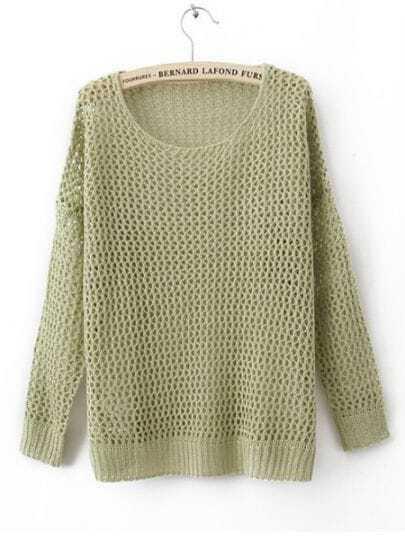 Green Long Sleeve Open Stitch Sweaters with Metallic Yarn