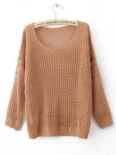 Orange Long Sleeve Open Stitch Sweaters with Metallic Yarn