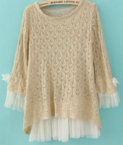 Beige Lace Contrast Curved Hem Tie Sleeve Knit Sweater