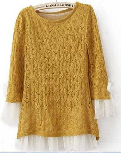 Yellow Lace Contrast Curved Hem Tie Sleeve Knit Sweater