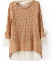 Orange Lace Contrast Curved Hem Tie Sleeve Knit Sweater