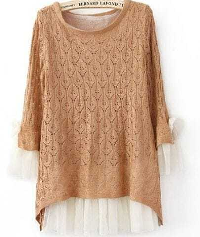 Orange Lace Contrast Curved Hem Tie Sleeve Knit Sweater