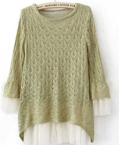 Green Lace Contrast Curved Hem Tie Sleeve Knit Sweater