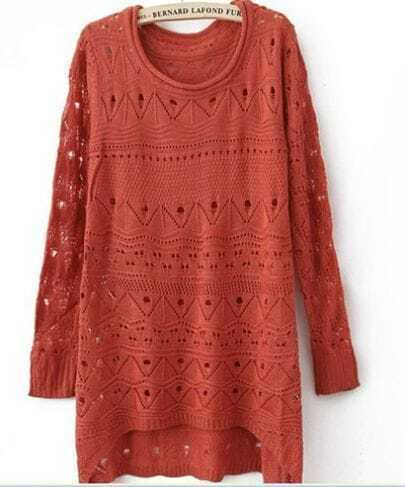 Red Curved Hum Knit Holey Texture Long Sweater