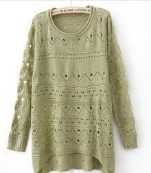 Green Curved Hum Knit Holey Texture Long Sweater