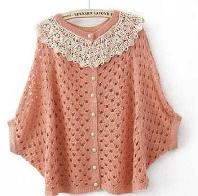 Pink Contrast Crochet Collar Batwing Open Mesh Stitch Sweater