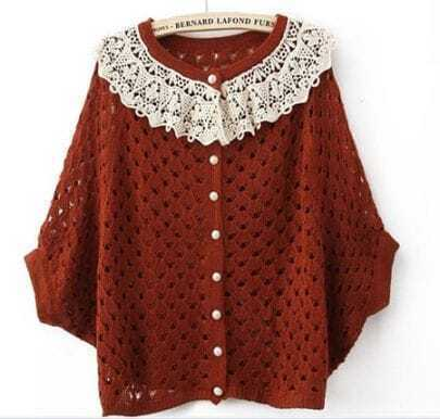 Red Contrast Crochet Collar Batwing Open Mesh Stitch Sweater