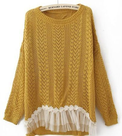 Yellow Long Sleeve Contrast Lace Hem Open Mesh Stitch Sweater