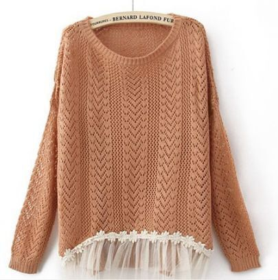 Orange Long Sleeve Contrast Lace Hem Open Mesh Stitch Sweater