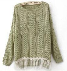 Green Long Sleeve Contrast Lace Hem Open Mesh Stitch Sweater