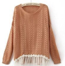 Orange Long Sleeve Contrast Lace Hem Open Mesh Stitch Sweater