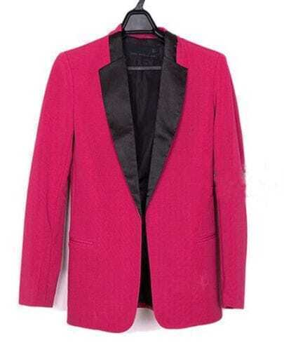 Rose Red Contrast Collar Long Sleeve Boyfriend Suit