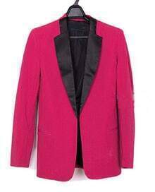 Rose Red Contrast Collar Long Sleeve Boyfriend Suit