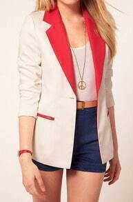 White Contrast Collar and Pockets Long Sleeve Boyfriend Suit