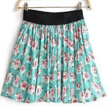 Turquoise Floral Print Pleated Elastic Waist Skirt