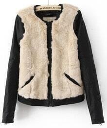 Black Beige Fur Long Sleeve Pockets Front Zip Jackets