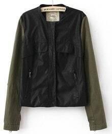 Black PU Long Sleeve Pockets Front Zip Jackets