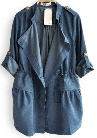Blue Drape Collar Pockets Long Sleeve Drawstring Outerwear