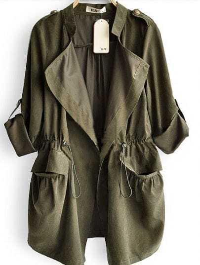 Amy Green Drape Collar Pockets Long Sleeve Drawstring Outerwear