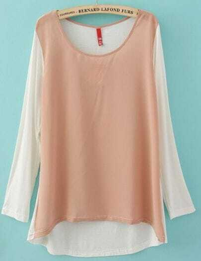 Pink Round Neck Long Sleeve Dipped Hem T-Shirt