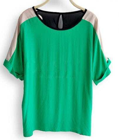 Green Chiffon Short Roll Sleeve Cut Out Back Blouses