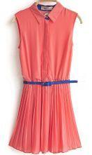 Pink Sleeveless Pleated Belted Chiffon Blouses
