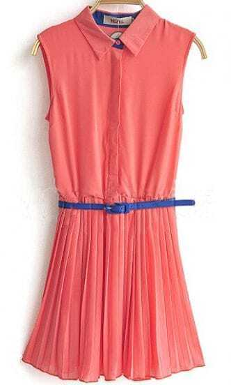 Pink Sleeveless Pleated Belted Chiffon Blouses
