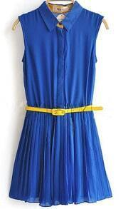 Blue Sleeveless Pleated Belted Chiffon Blouses
