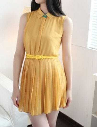 Yellow Sleeveless Pleated Belted Chiffon Blouses