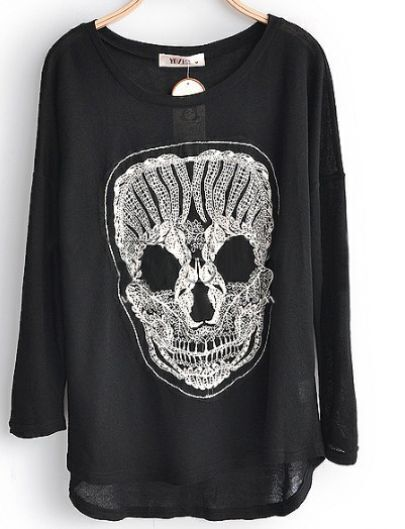 Black Skull Print Dipped Hem Long Sleeve Chiffon Blouses