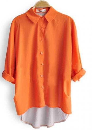 Orange Lapel Batwing Long Sleeve Dipped Hem Blouses