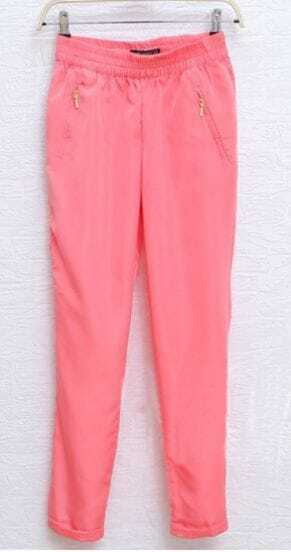 Pink Zip Pockets Turn Back Tapered Pants