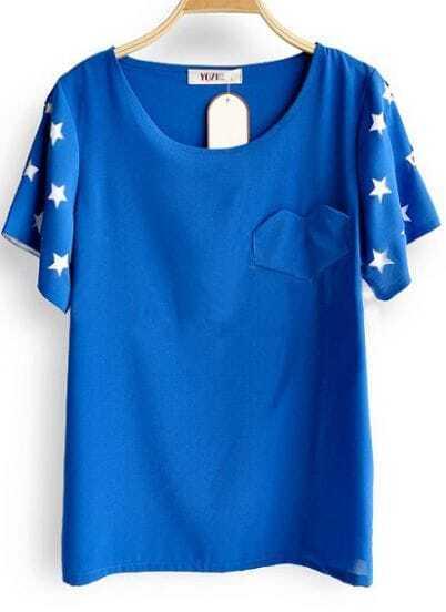 Blue Star Cut Out Short Sleeve Heart Pocket Chiffon Blouse