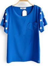Blue Star Cut Out Short Sleeve Heart Pocket Chiffon Blouse