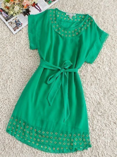 Green Round Neck Short Sleeve Batwing Drawstring Waist Silk Dress