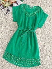Green Round Neck Short Sleeve Batwing Drawstring Waist Silk Dress