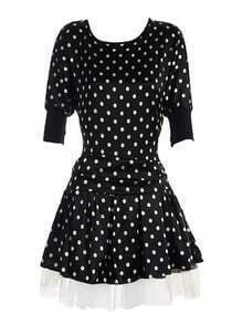 Black Round Neck Half Sleeve Polka Dot Silk Dress