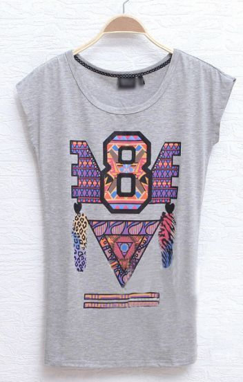 Grey Cotton Letter Geometric Print Cap Sleeve Fitted T-Shirt