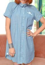 Blue Lapel Short Sleeve Single Breasted Loose Denim Shirt