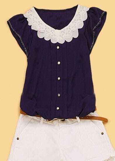 Navy Round Neck Short Sleeve Single Breasted Ruffles Chiffon Shirt