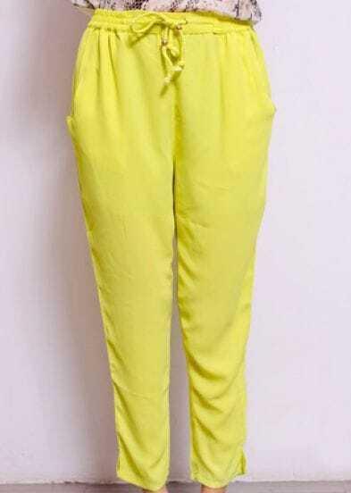 Yellow Street Mid Waist Loose Chiffon Pant