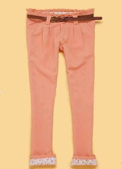 Pink Pleated Pockets Frill Embellished Belted Tapered Pants